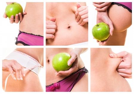 colagem da beleza feminina e dietas