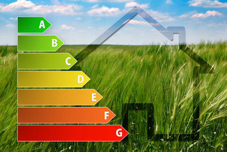 consume: icon of house energy efficiency rating with green background