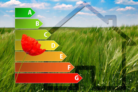 icon of house energy efficiency rating with poppy, house and green background photo