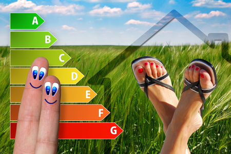 aerated: diagram of house energy efficiency rating with two cute happy fingers, nice feet and green background