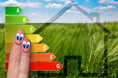 aerated: cute diagram of house energy efficiency rating with two cute happy fingers  with green background