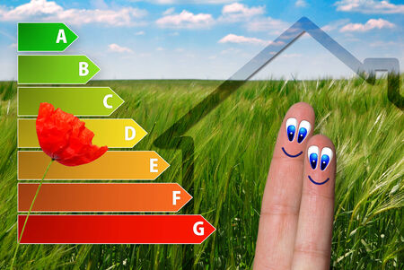 icon of house energy efficiency rating with cute fingers, poppy and green background photo