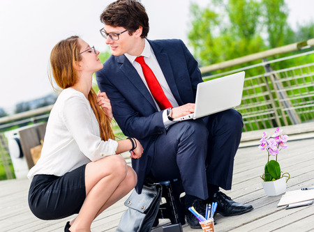 openspace: seduction on the workplace Stock Photo