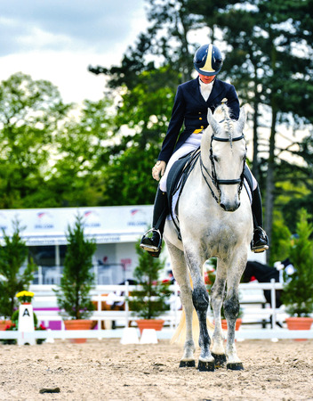dressage horse and woman rider on dressage competition Archivio Fotografico