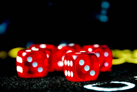 red dices on casino table photo