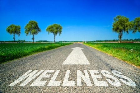 metaphor illustrating on the road the wellness and good health Stock Photo