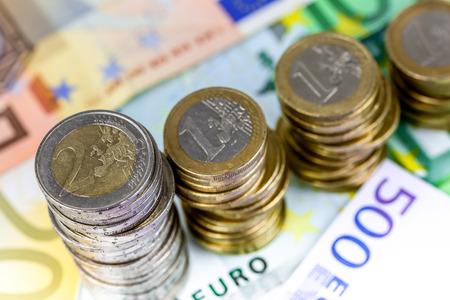 The euro, the currency of the economic and monetary union decreasing Stock Photo