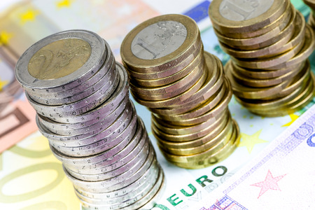The euro, the currency of the economic and monetary union decreasing