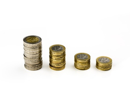 decreasing: The euro, the currency of the economic and monetary union decreasing Stock Photo
