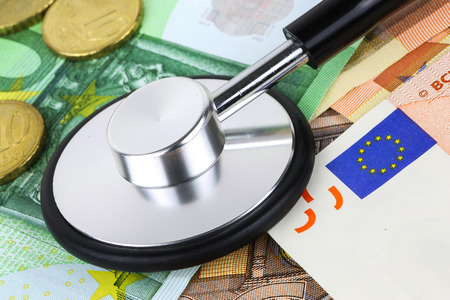 European currency sick concept. stethoscope on euro banknotes photo