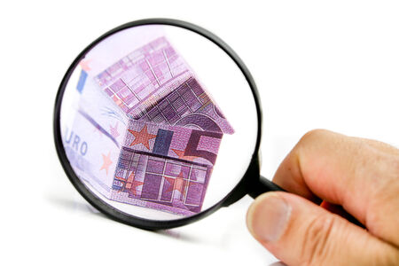 Real estate concept with Euro bank notes House photo