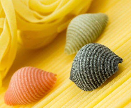 Closeup shoot of different types of raw pasta photo