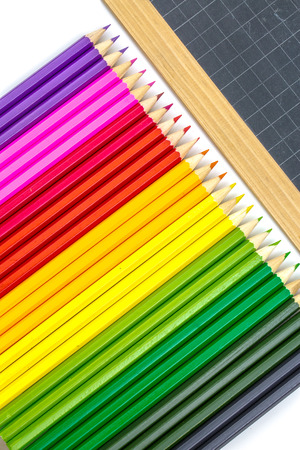Closeup on colorful school supplies photo