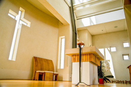 religious building: Interior view of modern church in France