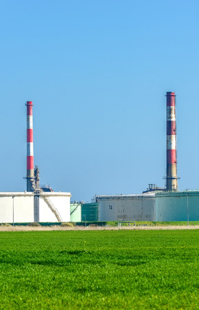 Stock Photo   View On Oil Storage Unit In The Countryside
