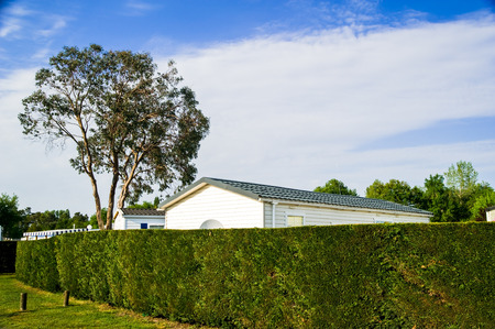 mobile home with a beautiful natural fence photo