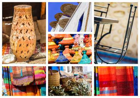 haggling: colorful collage and composition of objects or typical places of Morocco Stock Photo