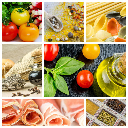bunte Collage und Komposition bei Mix Kochzutaten