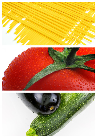 colorful collage and composition with mix cooking ingredients photo