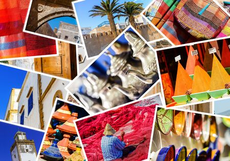 colorful collage and composition of objects or typical places of Morocco Stock Photo