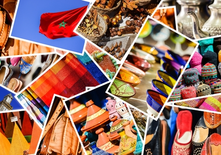 colorful collage and composition of objects or typical places of Morocco photo