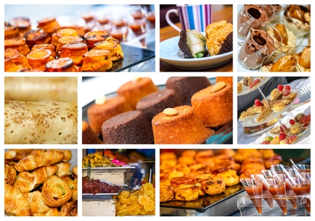 assortment: collage assortment of pastries french Stock Photo