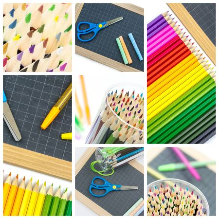 Collage of  colorful school supplies, pens, slate and scissors photo