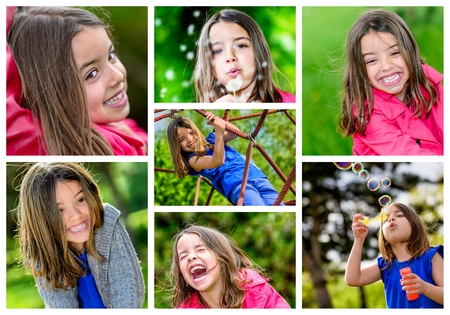 collage mosaic of young children playing outdoors photo