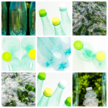 collage and composition about recycling of glass and plastic Stock Photo