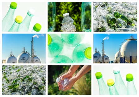 reprocessing: collage and composition about recycling of glass and plastic Stock Photo