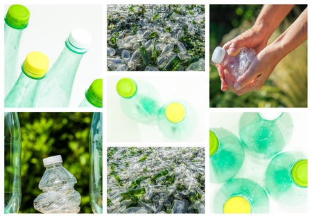 collage and composition about recycling of glass and plastic photo