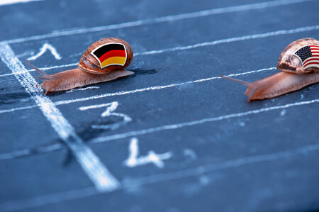 protectionism: snails race metaphor about Germany against Usa