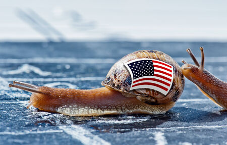 protectionism: snail with the colors of Usa flag encouraged by another country