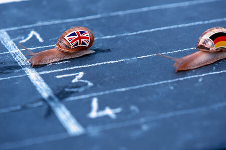 protectionism: snails race metaphor about England against Germany