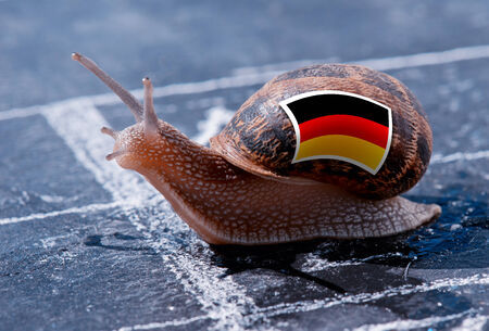 protectionism: finish line winning of a snail with the colors of Germany flag