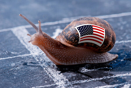 protectionism: finish line winning of a snail with the colors of Usa flag
