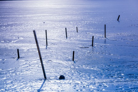 frozen lake: close-up of  frozen lake in the Vosges Mountain, France