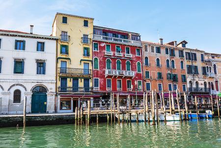 the merchant of venice: VENICE, ITALY - MAR 18 - restaurant on Canal Grande on Mars 18, 2015 in Venice, Italy.