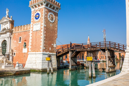 Tower at the entrace of the Arsenale of Venice, Italy