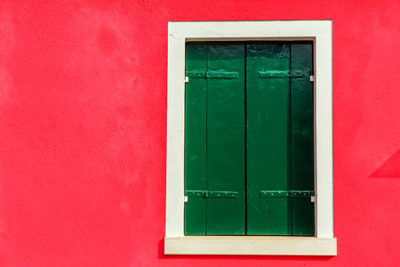 Colorful window of a house on the Venetian island of Burano Stock Photo