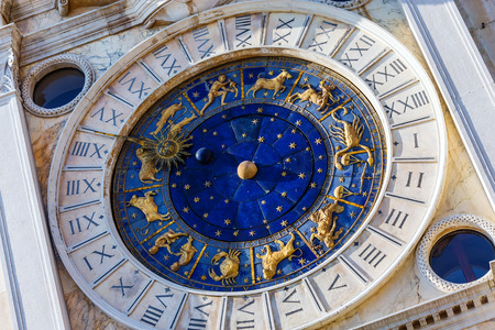 esotericism: Closeup on Astronomical clock in square San Marco, Venice, Italy.