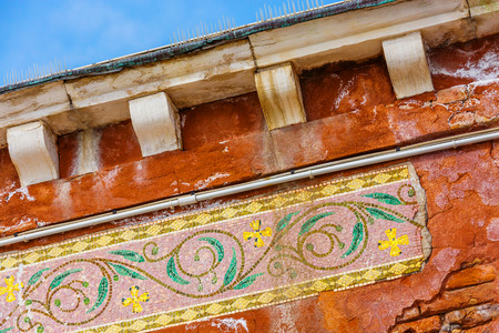 Murano: Colorful mosaic on the street of Murano