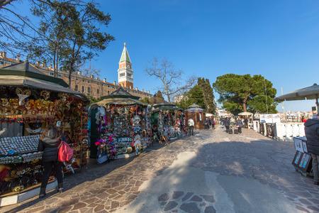 st  mark's square: VENICE, ITALY - MAR 18 - Souvenir shops near St. Marks Square on Mars 18, 2015 in Venice, Italy.