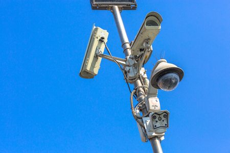 big brother spy: VENICE, ITALY - MAR 19 - closeup view of modern security camera and urban video on Mars 19, 2015 in Venice, Italy.