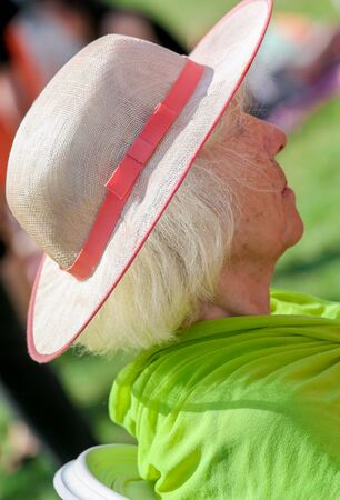 chantilly: CHANTILLY - JUNE 15: Very elegant mature woman at the Prix de Diane - The Diana Award is a French horse race qui runs Every year in June. In an atmosphere of sporting fervor and chic picnic Chantilly. Considered the price of elegance and distinction, than Editorial