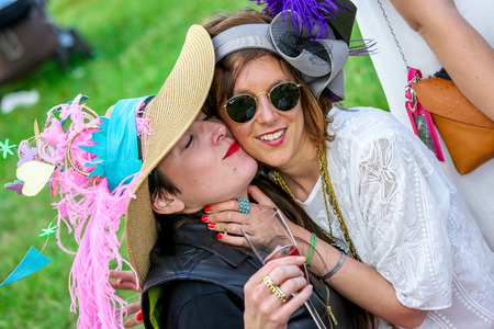 CHANTILLY - JUNE 15: Lifestyle Pricing Diane - The Diana Award is a French horse race which runs Every year in June. In an atmosphere of sporting fervor and chic picnic Chantilly. Considered the price of elegance and distinction, thanks to ict hat parade, Editorial