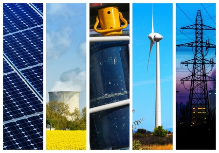 industry concept: Collage of Power and energy concepts