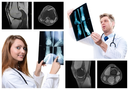 medical imaging: collage of medical imaging with beautiful young doctors