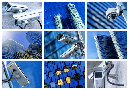 big brother spy: collage of security camera and urban video Stock Photo