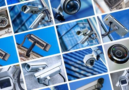 collage of security camera and urban video Foto de archivo